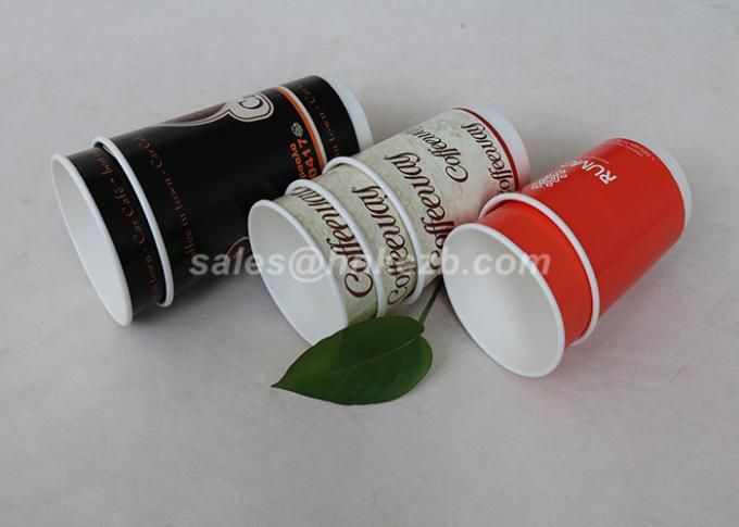 Lightweight Double Wall Coffee Cups , Takeaway Paper Disposable Cups With Logo