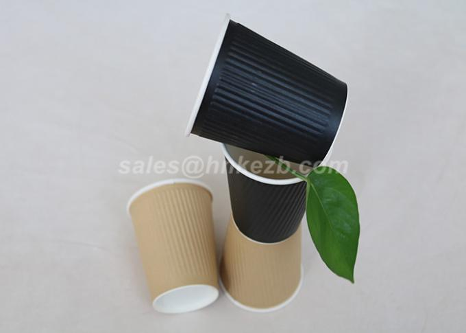 12oz Kraft Insulated Ripple Paper Cups For Drinking with Lids Customized