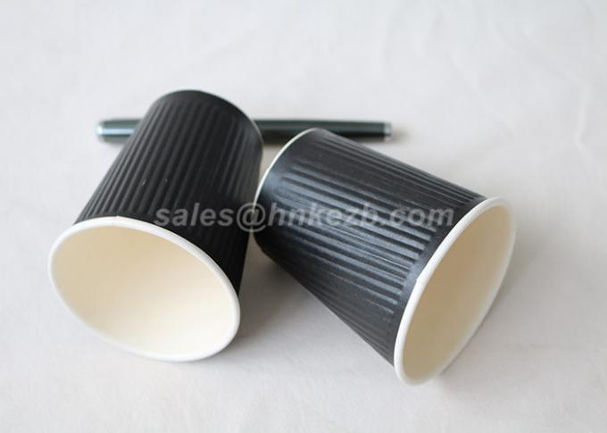 Black Ripple Corrugated Disposable Paper Cups Insulated Double Wall