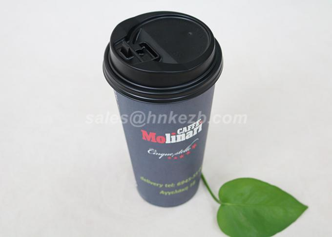 Food Grade Black Coffee Paper Cups , Disposable To Go Coffee Cups Insulated