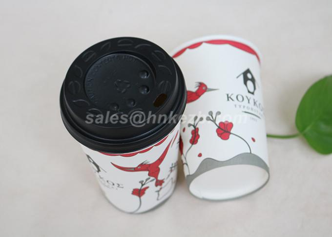 Single Wall Disposable Paper Coffee Cups With Plastic Lids Customized Logo Printed