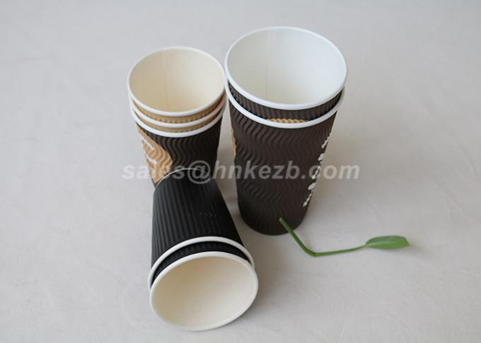 Ripple Paper Hot Drink Paper Cups Insulated  Full Color Flexo Printing