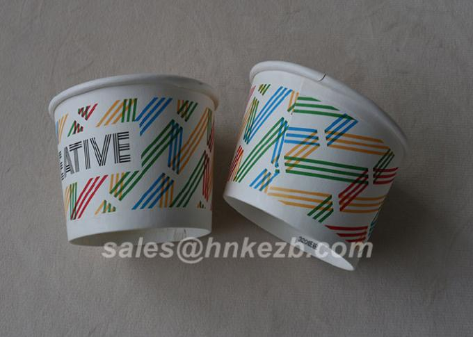 Die Cutting 12oz Disposable Ice Cream Paper Cups Waterproof With Dome Lid