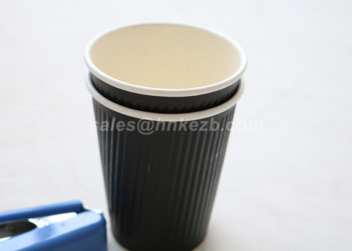 924d507083e 280ml Black Disposable Coffee Cups For Hot / Cold Beverages Ripple Wall