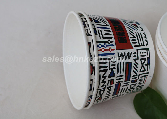 Offset Printing Disposable Ice Cream Cups , Ice Cream Paper Bowls Single Wall