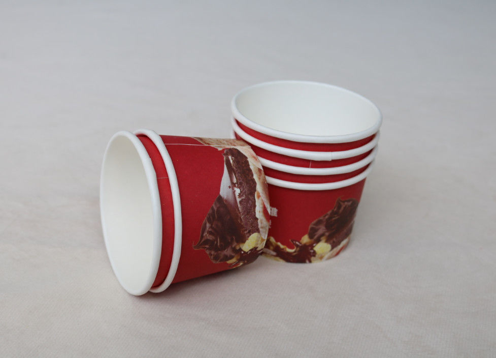 Custom Printed Ice Cream Paper Cups , Double PE Disposable Ice Cream Bowls