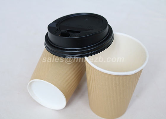 Food Grade 8 Oz Ripple Paper Coffee Cups , Disposable Paper Cups With Lids
