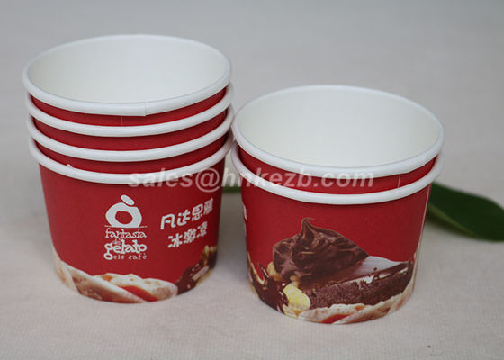 Disposable Vending Paper Cups Red 7 oz for Ice Cream Evironmental Friendly
