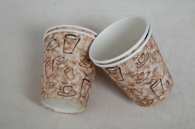 265ml Single Wall Paper Cups , Customized Disposable Hot Cups Sun Paper