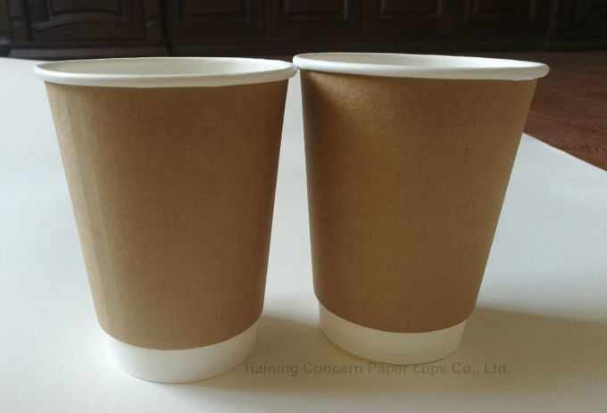 8oz 12oz 16oz Disposable Hot Beverage Cups Double Wall With Kraft Outsleeve