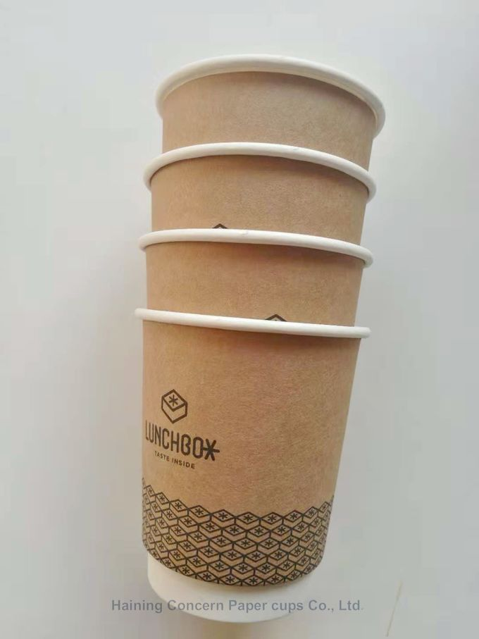 Insulated double wall kraft coffee paper cup with customized logo printing